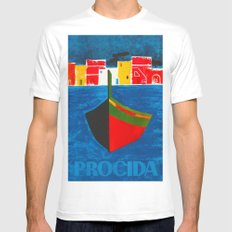 Vintage Procida Italy Travel White MEDIUM Mens Fitted Tee