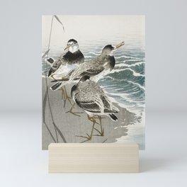 Sandpipers at the beach - Japanese vintage woodblock print Mini Art Print