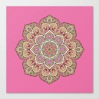 islam Canvas Prints featuring Pink Mandala by Mantra Mandala