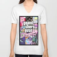 grand theft auto V-neck T-shirts featuring My little grand theft by eatpersonality