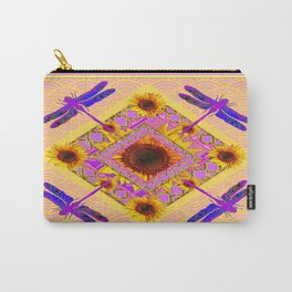 Purple Dragonflies Pink-Yellow Sunflower Abstracted Garden Carry-All Pouch