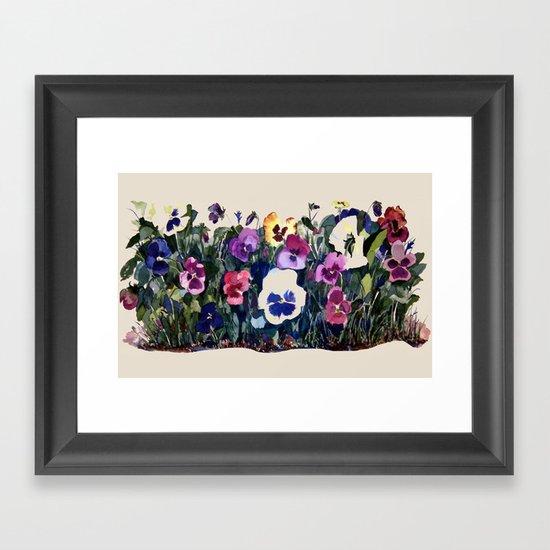 Pansies Watercolor Framed Art Print