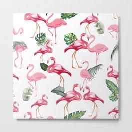Flamingos Love Pattern Metal Print