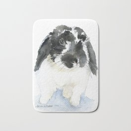 Black and White Bunny Rabbit Watercolor Bath Mat