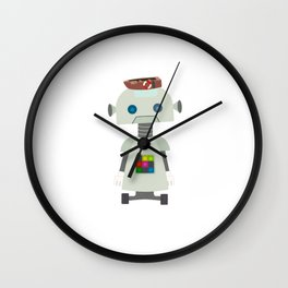 Giant silver robot with a boat hat Wall Clock