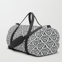 Scroll Damask Pattern Black on White Duffle Bag