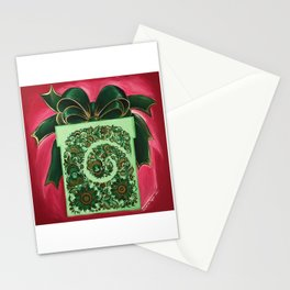 Gift box with an atlas bow in petrykivka style Stationery Cards