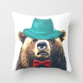 Funny Bear Illustration Throw Pillow