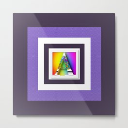 MONOGRAM INITIAL A PURPLE BORDER Metal Print