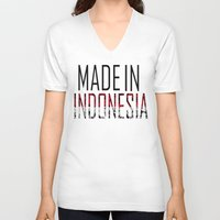 indonesia V-neck T-shirts featuring Made In Indonesia by VirgoSpice