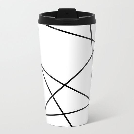 Lines in Chaos II - White Metal Travel Mug