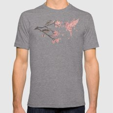 Blossom Bird  Mens Fitted Tee X-LARGE Tri-Grey