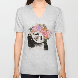 Baby Panda with Flowers Crown Unisex V-Neck