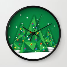 Vector Christmas Tree Wall Clock