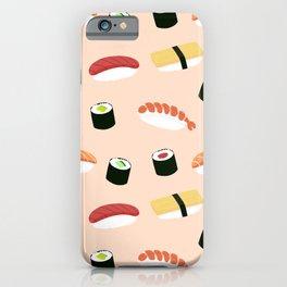 Japanes sushi hand draw illustration on pastel background iPhone Case