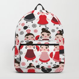 pattern spanish Woman flamenco dancer. Kawaii cute face with pink cheeks and winking eyes. Backpack