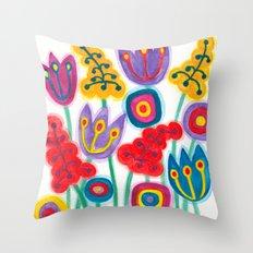 raw flower garden with tulips Throw Pillow