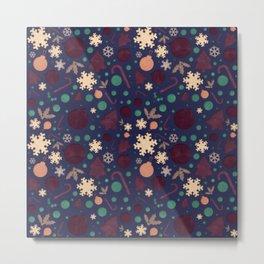 Christmas Watercolor Paper Cut-Out Pattern Metal Print