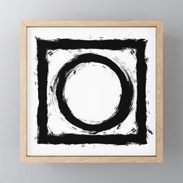 Black and white shapes splatter Framed Mini Art Print