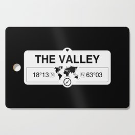 The Valley Anguilla GPS Coordinates Map Artwork with Compass Cutting Board