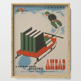 Vintage poster -  A Year of Good Reading Ahead Serving Tray
