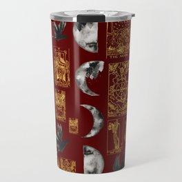 Beautiful Pagan Themed Print - Tarot Cards, Moon phases and ravens Travel Mug