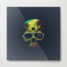 Summer Skull - Say yes to new adventures Metal Print