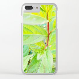 Happy Neon Green Fall Sapling Clear iPhone Case