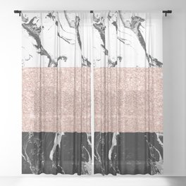 Modern black white marble rose gold color block stripes pattern Sheer Curtain