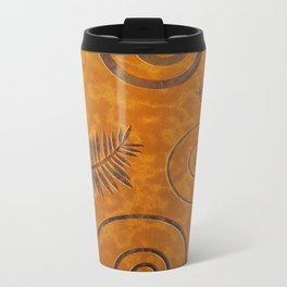 Graphic Fossil Leaf and Shell Shapes Red Sand Pattern Metal Travel Mug