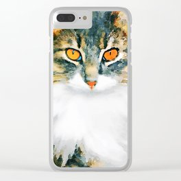 Cat with Orange Eyes Clear iPhone Case