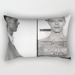 1976 Bowie Arrest Mugshot in Rochester, New York black and white photograph Rectangular Pillow