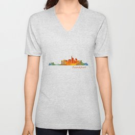 Frankfurt am Main, City Skyline, Citiscae art watercolor V1 Unisex V-Neck