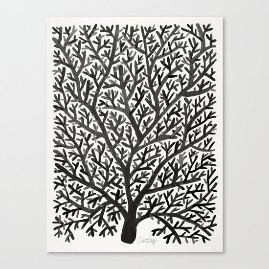 Black Fan Coral Canvas Print