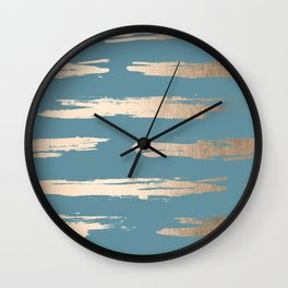 Abstract Painted Stripes Gold Tropical Ocean Blue Wall Clock
