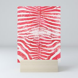 Zebra Stripes | Distressed Red and White | Watercolor Animal Print Art Mini Art Print