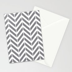 Gray Broken Chevron Stationery Cards