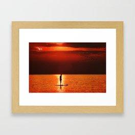 Paddling into the Sunset Framed Art Print