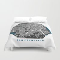 san francisco map Duvet Covers featuring San Francisco city map black colour by MCartography