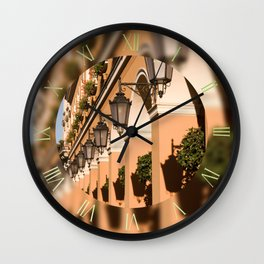 Lamps row on building columns Wall Clock