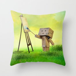 Danbo the artist Throw Pillow