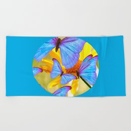 Shiny Blue Butterflies On A Yellow Flower #decor #society6 #buyart Beach Towel