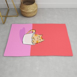 I like you more than my cat & coffee #valentines Rug