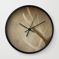 antlers Wall Clocks featuring Antlers by Bella Blue Photography