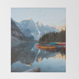 Moraine Lake Canoes Throw Blanket