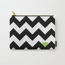 Heart & Chevron - Black/Green Carry-All Pouch