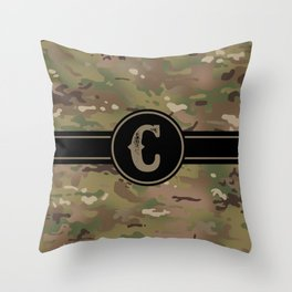 Camouflage Monogram: Letter C Throw Pillow