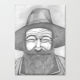 Bearded Man in Hat Canvas Print