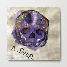Hand Painted Skull - Acrylic On Cloth Metal Print