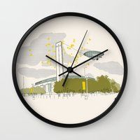 kris tate Wall Clocks featuring Tate Modern by KlaraBowPiechocki